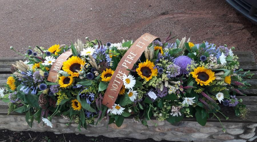 composition florale deuil, fleuriste à Ruy et à Bourgoin
